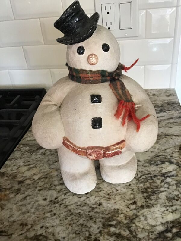 Vintage Large Snowman With Scarf 12 Inches tall