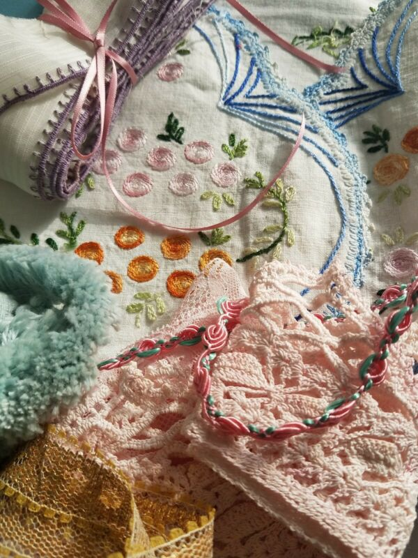 Lot Crochet Lace Rosette Trim Pink Valenciennes Edging& VTG Embroidered Doily