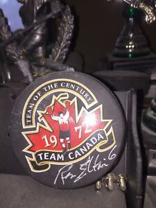 1972  Team of the Century Puck Autographed by Ron Ellis