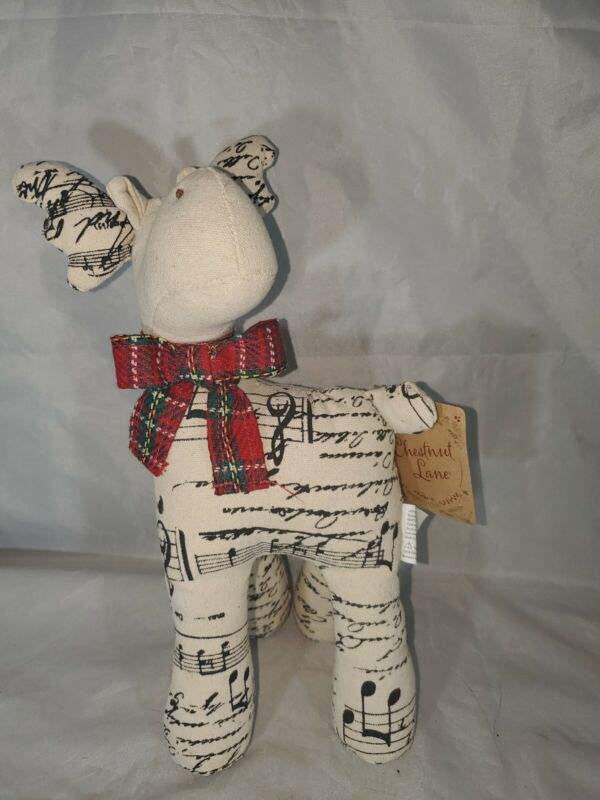 Christmas Stuffed Cloth Reindeer Red Scarf sheet Music Design Chestnut Lane EUC