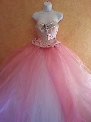 SAMPLE GOWN ONLY - BRAND NEW WHITE PINK TULLE ORGANZA PRINCESS WEDDING BALLGOWN