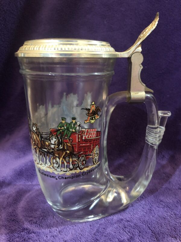VTG Budweiser BMF Lidded Beer Stein Champion Clydesdales Made in W Germany