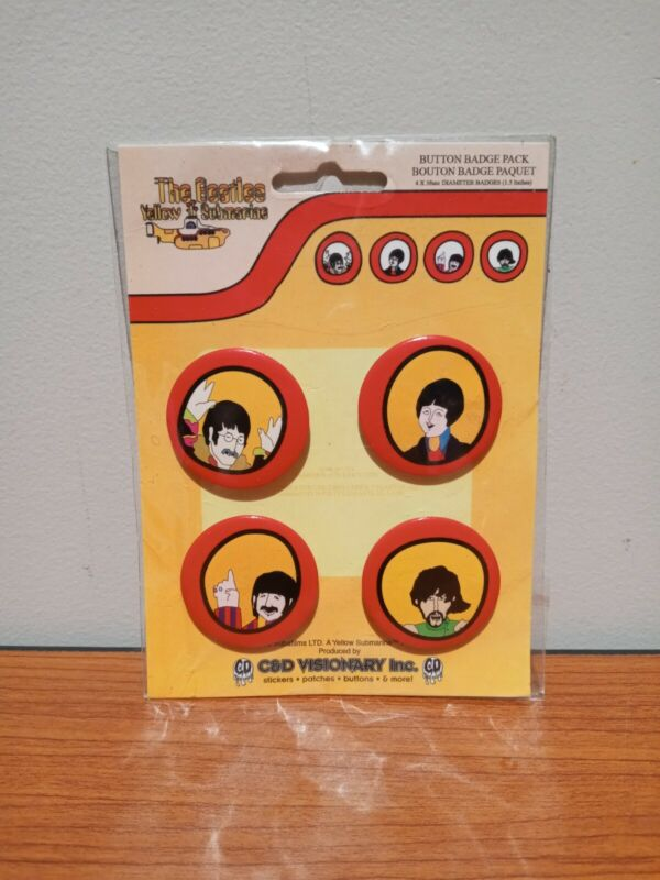 BRAND NEW The Beatles Yellow Submarine Button Badge Pack, Set Of 4 C&D Visionary