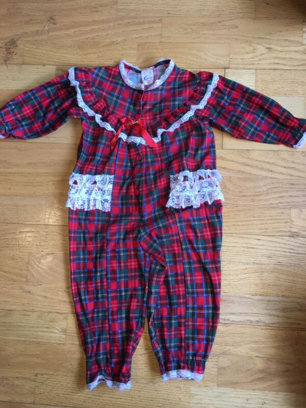 Vintage 1980s 3T  Cassie Girl Christmas Plaid Pajamas Red Green Lace Long Sleeve
