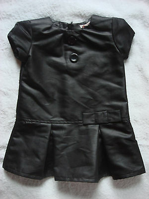 Les Bebes de Floriane Baby Girl's Black faux Leather Fashion Dress 2 years ans