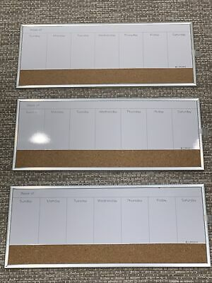 Set Of 3 Combination Magnetic Whiteboard Calendar Corkboard 16 X 7