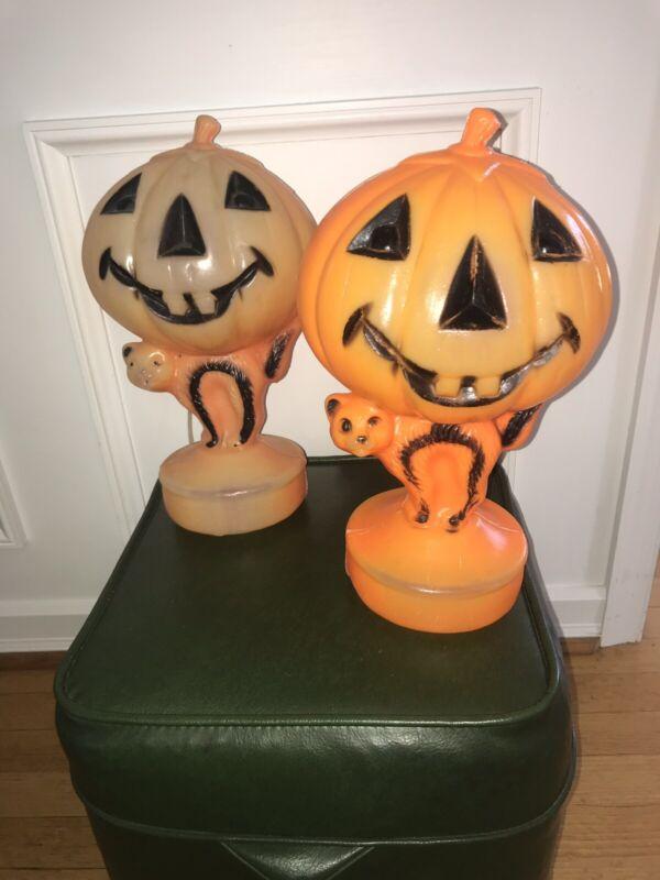 Vtg Halloween Blowmold Pumpkin JOL Cat Light Plastic Lot