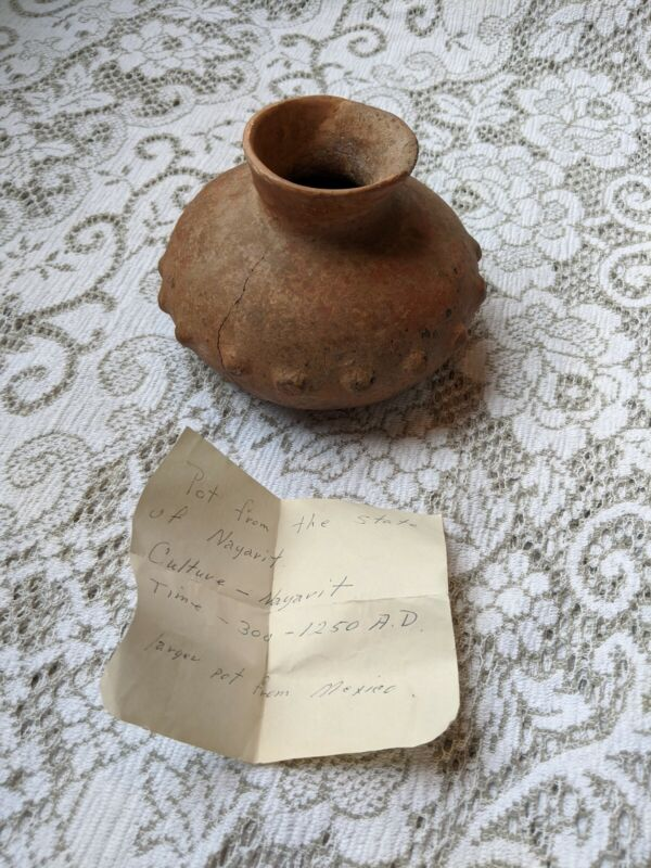 Ancient Pre Columbian Pottery Vessel Excavated Artifact Mexico Nayarit w/ Notes