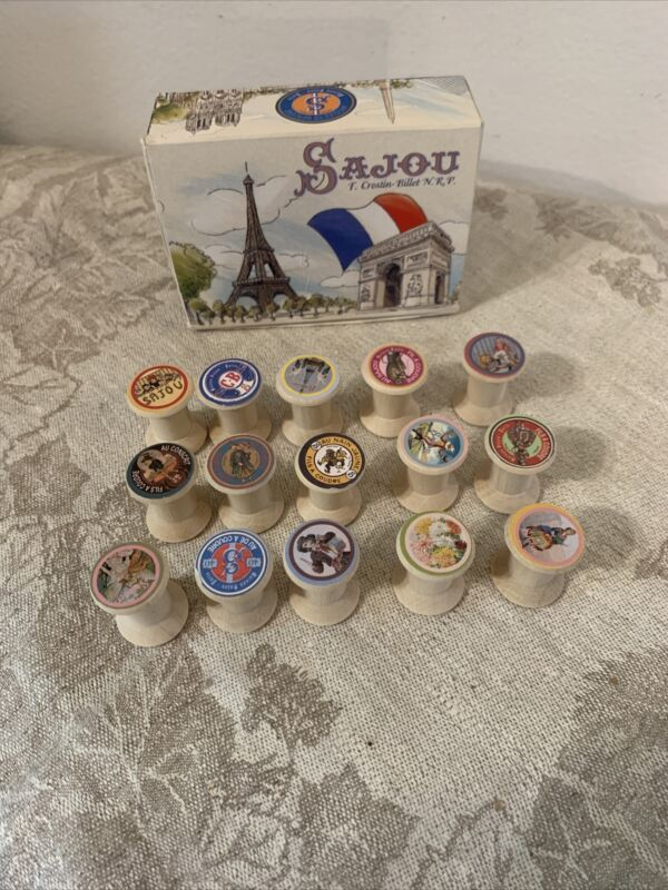 """Set of 15 small wood spools made in France in box """"Sajou"""" for arts crafts deco"""
