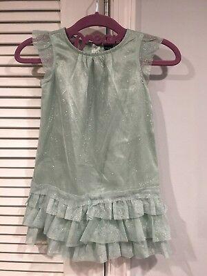 NWT BABY GAP GLITTERY PARTY DRESS SEAFOAM 3T 3 YEARS POWDER PUFF FLAPPER DRESS