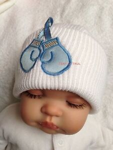 Baby Boys Romany White Beanie Hat-Fits up to 6 months Bling Boxing Gloves Motif