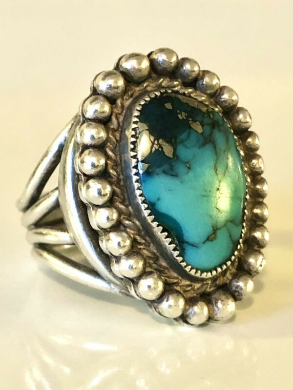 Vintage 925 Sterling Silver Large Turquoise w/ Silver Pyrite Ring SIZE 6.25