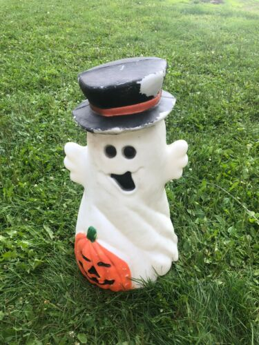 RARE VINTAGE GHOST PUMPKIN 31 INCHES BLOW MOLD HOLIDAY HALLOWEEN YARD DECOR