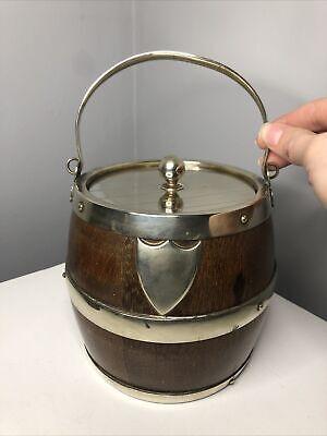 Vintage Oak Ice Biscuit Bucket Barrel Silver Plated & Porcelain John Grinsell