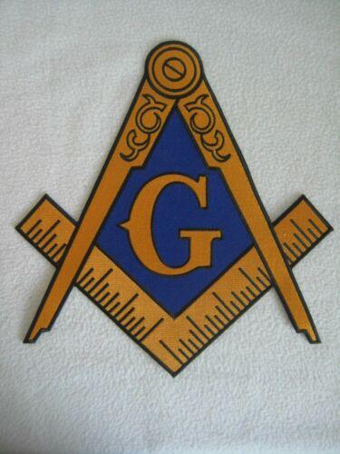 "Large Masonic Freemason Logo Embroidered Patch Iron On Square Compass 12"" X 11"""