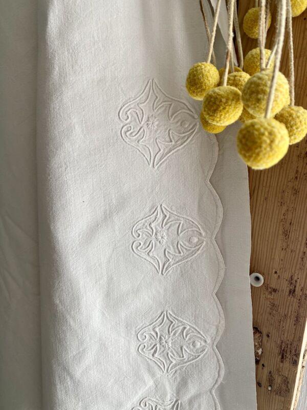 Art déco LONG French linen cotton sheet EMBROIDERED FESTON c1930