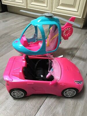 Barbie Dreamhouse Adventures Helicopter and pink convertibles car
