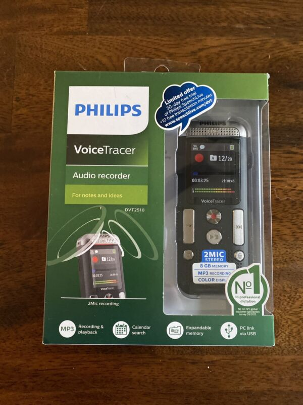 Philips Voice Tracer DVT2510 With 2 Mic Stereo Recording New NIP