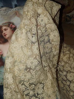 "2.9 yds ANTIQUE / VINTAGE Embroidered Net LACE Fabric Cream Ecru 16"" w"