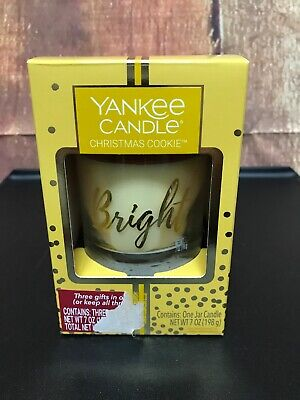 Yankee Candle Christmas Cookies 7oz jar Candle holiday decorative word 'bright'