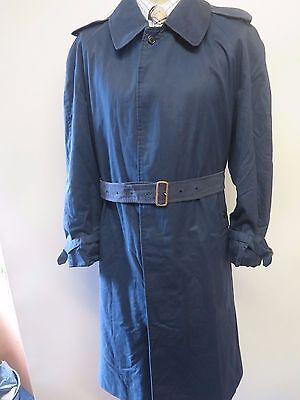 "Genuine  Burberry Navy Blue Raincoat Coat Mac Size L 44"" S Euro 54 Short"
