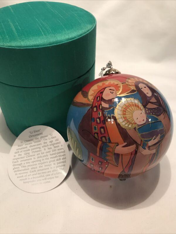 "Li Bien Painted Glass Ornament ""Nativity"" Mary Joseph & Jesus Pier 1 in Box 2006"