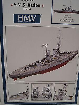 S.M.S. Baden Linienschiff  Kartonbausatz *NEU* Bastelbogen Kartonmodell HMV