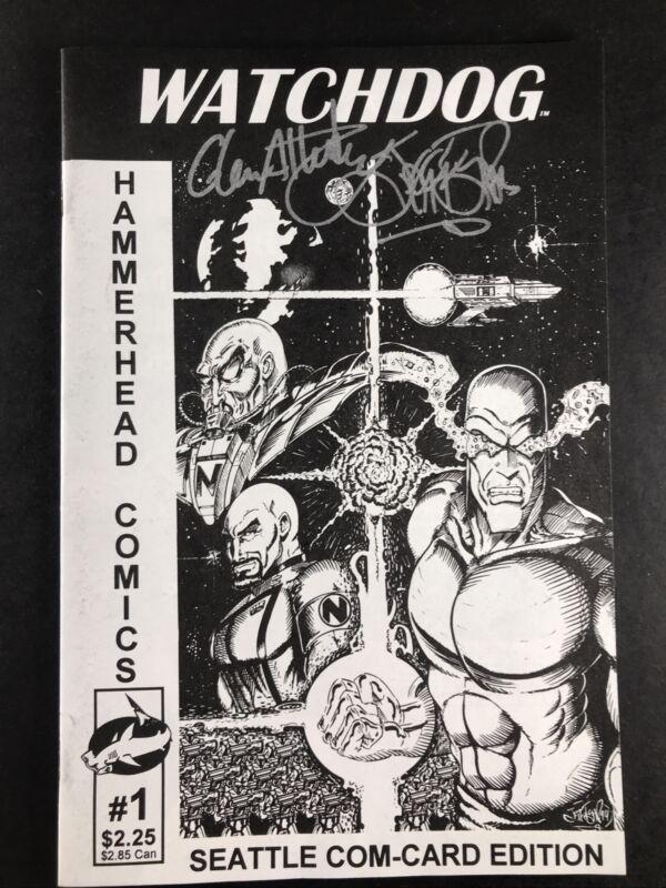 SIGNED-Watchdog 1 Hammerhead Comic Seattle Com-Card Ed Glen Attebery Jeff Fisher