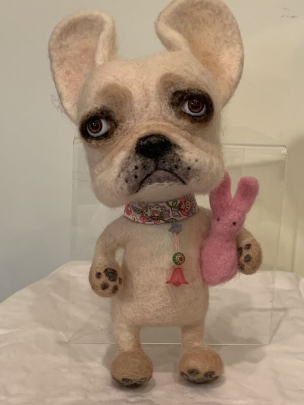 HELLO PUMKIN !! Artist Needle Felted French Bull Dog with Bunny OOAK