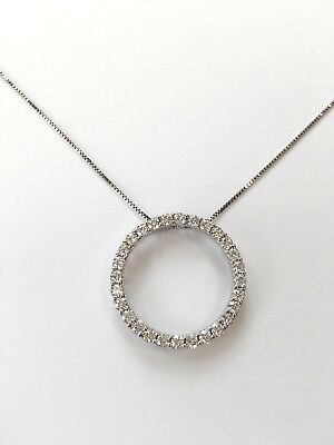 14k White Gold 1.20ctw Round Moissanite Circle Necklace 18 inches 14k Moissanite Necklace