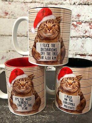 Christmas Cat Mugshot Funny Coffee Mug - Gift For Cat Lovers - Cat Meme Lol Cats ()