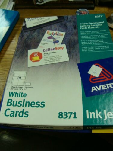 210 AVERY 8371 White Business Cards  INKJET - 25 sheets makes 250 cards