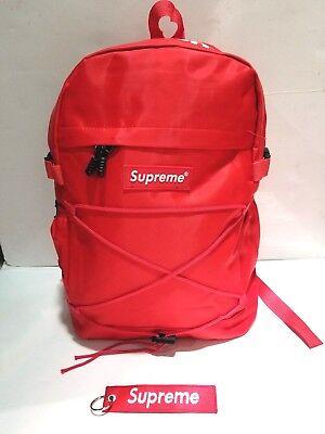 Brand New Supreme RED Backpack With Adjustable Strap + Free Bonus Supreme Key