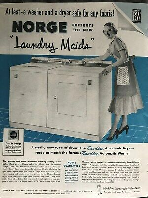 Norge Laundry Maids~Finally Safe For Any Fabric~1955 Vintage Print AD A92