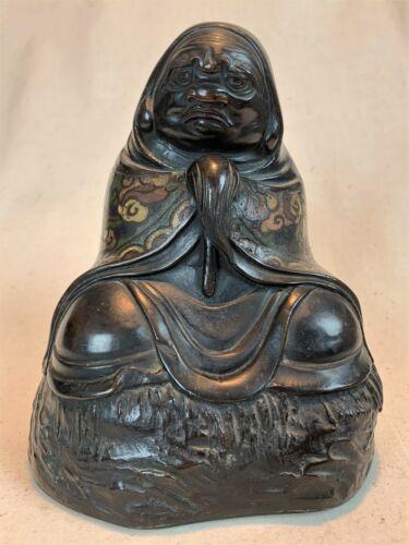 ANTIQUE JAPANESE BRONZE & CHAMPLEVE ENAMEL BODHIDHARMA BUDDHA STATUE MEIJI