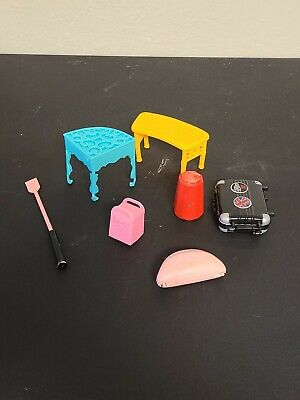 Lot of 7 Vintage Barbie Furniture and accessories Tables, Suitcase ETC