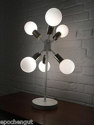 1 v. 2 Space Age 6er Sputnik Lampe Retro Tischlampe Boardlampe Messing Design