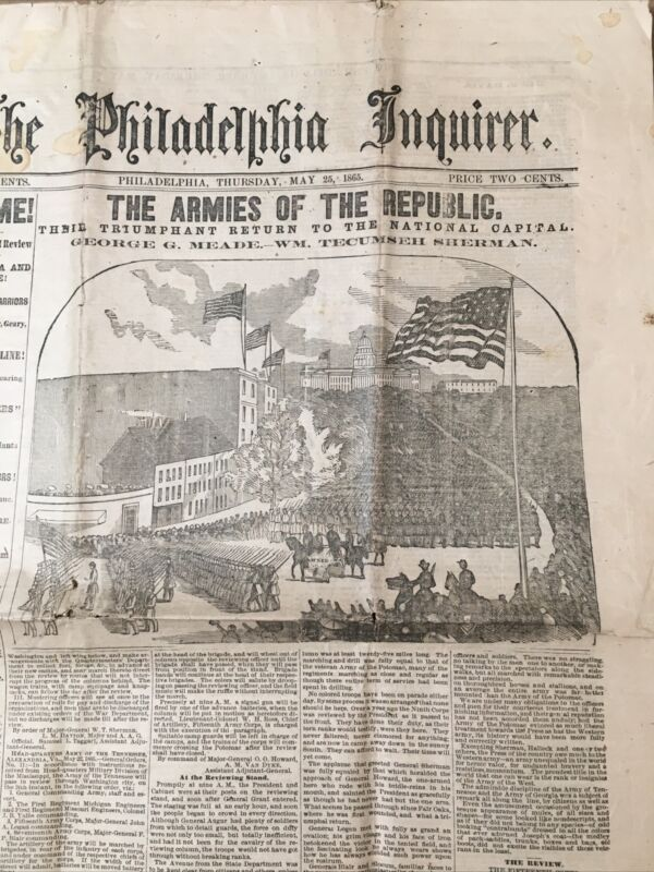 Antique Philadelphia Inquirer Civil War Newspaper May 25 1865 Grand Review Army