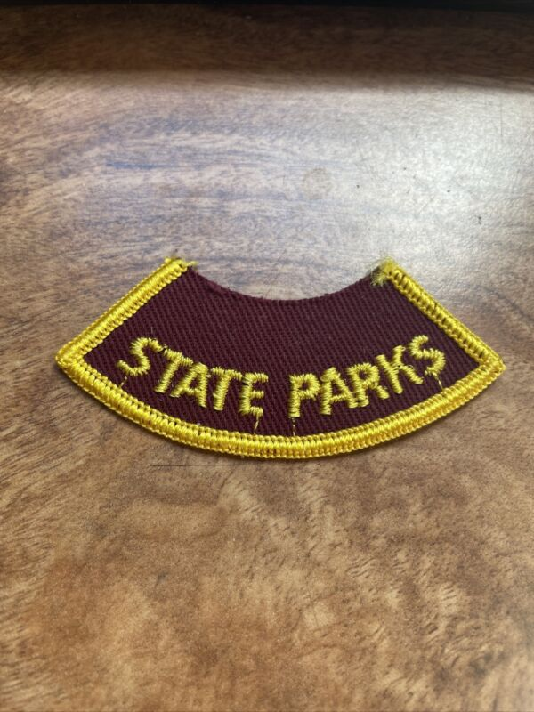 """WI State Parks Tab Arc Sew On Patch Logo Rare Vtg 3"""" Park Forest Maroon Gold"""