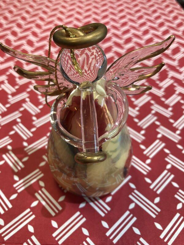 Russ Angel Ornament Blown Glass Art Glass Angel Playing Trumpet #B