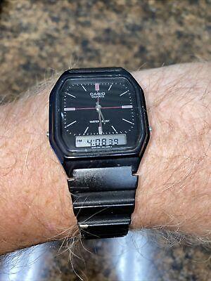 Casio AQ-8W 308 Retro Analog/Digital Chrono Silver Black Watch New Battery Runs!