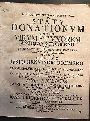 """Hist. Dissertation: Halle/Magdeburg 1735: """"DE STATU DONATIONUM INTER VIRUM ET ."""""""