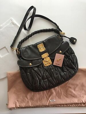 New Miu Miu Prada Astro Matelasse Lux Nappa Leather Coffer Hobo Bag