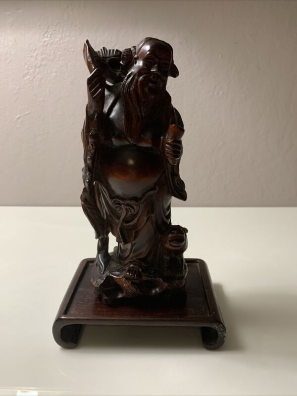 "Old Man Carp Statue  9"" Japanese Wood Fine Carving Base Included.  Asian Antique"