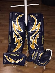 Goalie pads and gloves