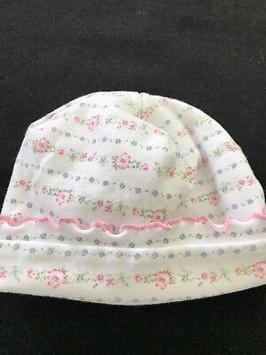 Kissy Kissy Pima Cotton White Hat With Flowers - Newborn Kissy Kissy Hat