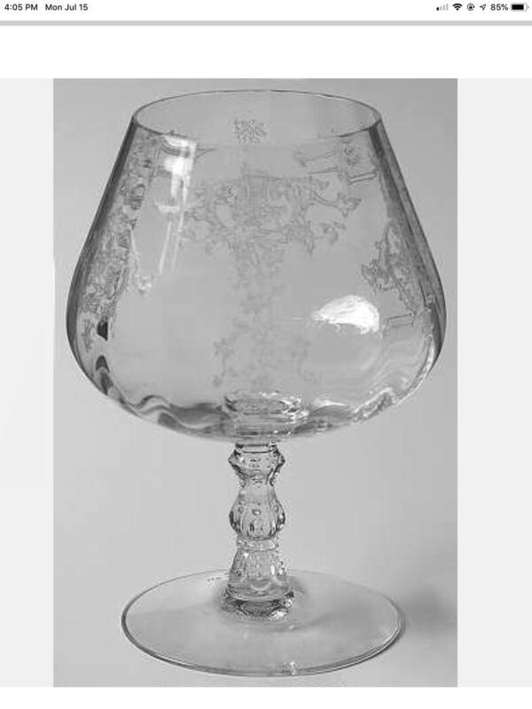 "TWO Crystal Clear Fostoria Navarre Brandy Inhaler Glass 5½"""