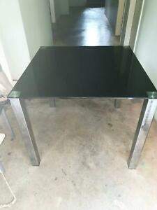Black Glass Top Dinning Table with Chrome Plated Legs