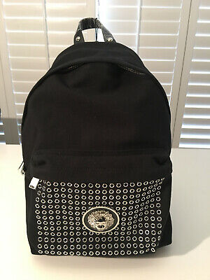 NIB Authentic Versace VERSUS Black Canvas Lion Head Eyelet Trimmed Backpack Bag