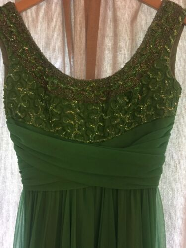 Mike Benet Vintage Beaded/Sequined Green Gown Formal Dress Size 6